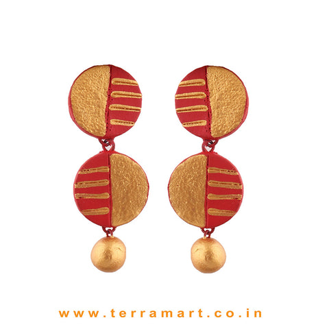 Captivating Red & Gold colour Painted Handmade Terracotta Earrings