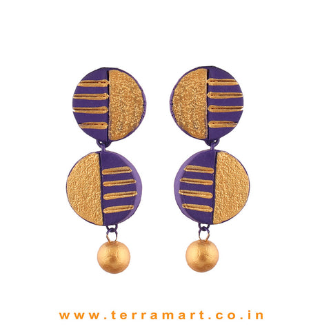 Captivating Violet & Gold colour Painted Handmade Terracotta Earrings