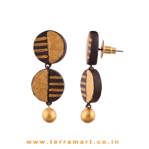 Captivating Brown & Gold colour Painted Handmade Terracotta Earrings