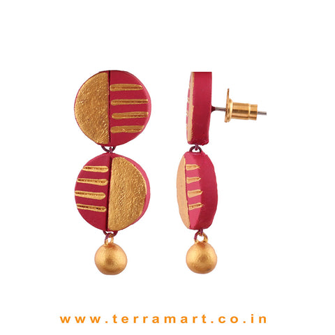 Captivating Pink & Gold colour Painted Handmade Terracotta Earrings
