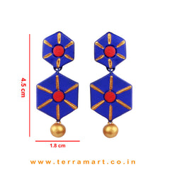 Nice Looking  Navy Blue, Red & Gold colour Handmade Terracotta Earrings - Terramart Jewellery