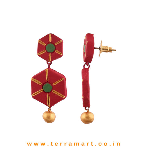 Nice Looking Maroon, Sap Green & Gold colour Handmade Terracotta Earrings - Terramart Jewellery