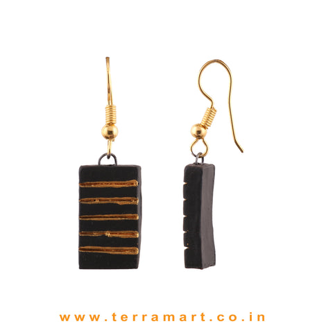 Black & Gold colour Handmade Terracotta Hook Earrings