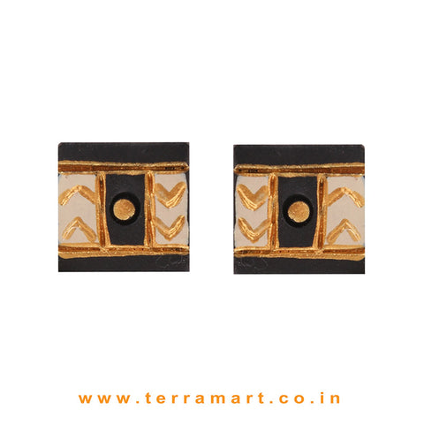 Fantastic Black, Sandal & Gold colour Handmade Terracotta Earrings - Terramart Jewellery