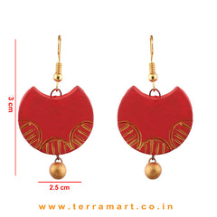 Stylish Red & Gold colour Handmade Terracotta Hook Earrings