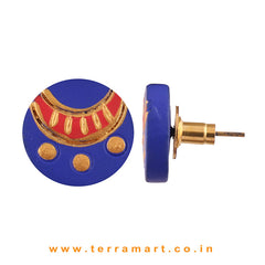 Beauteous Navy Blue, Red & Gold Colour Painted Handmade Terracotta Earrings