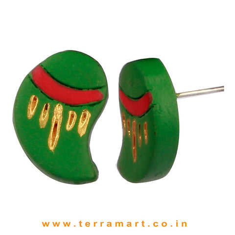 Beauteous Gold, Sap Green & Red Colour Painted Handmade Terracotta Earrings