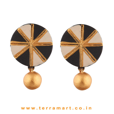 Chakra Designed Black, Sandal & Gold Colour Handmade Terracotta Earrings With Terracotta Beads