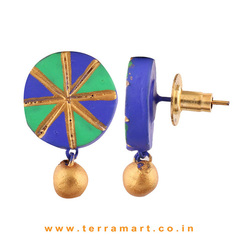 Chakra Designed Navy Blue, Parrot Green & Gold Colour Handmade Terracotta Earrings With Terracotta Beads