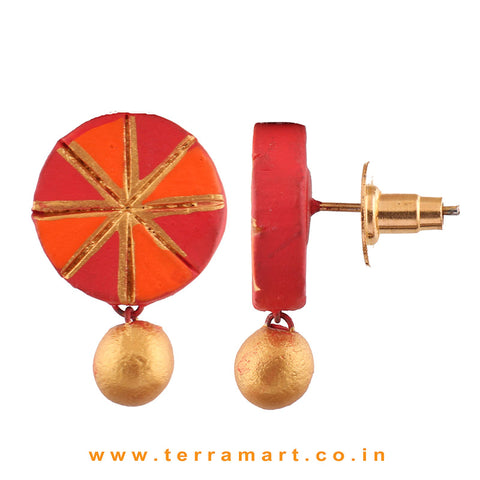 Chakra Designed Red, Orange & Gold Colour Handmade Terracotta Earrings With Terracotta Beads