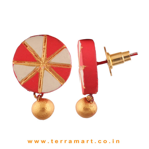 Chakra Designed Red, Sandal & Gold Colour Handmade Terracotta Earrings With Terracotta Beads