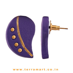 Likeable Violet & Gold Colour Handmade Terracotta Earrings  - Terramart Jewellery