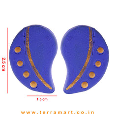 Likeable Navy Blue & Gold Colour Handmade Terracotta Earrings  - Terramart Jewellery
