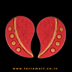 Likeable Red & Gold Colour Handmade Terracotta Earrings  - Terramart Jewellery