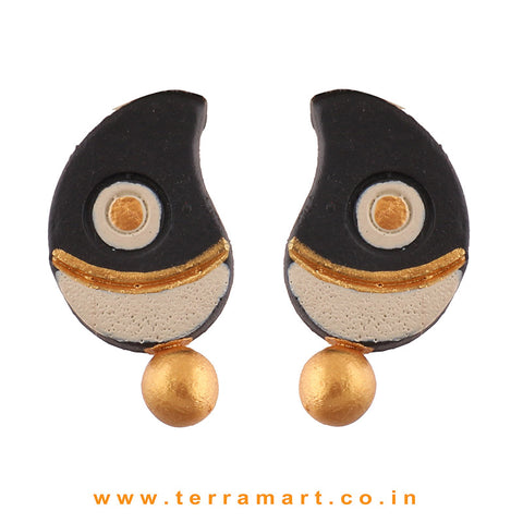 Black, Sandal & Gold Colour Painted satisfying Handmade Terracotta Earrings