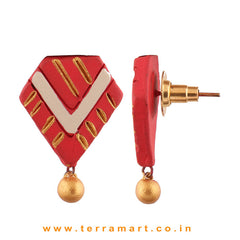 Red, Sandal & Gold Colour Painted Attracting Handmade Terracotta Earrings - Terramart Jewellery