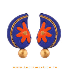 Facinating Navy Blue, Orange & Gold colour Handmade Terracotta Earrings - Terramart Jewellery