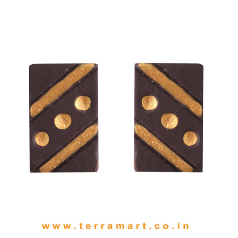 Cute Brown & Gold colour Handmade Terracotta Earrings