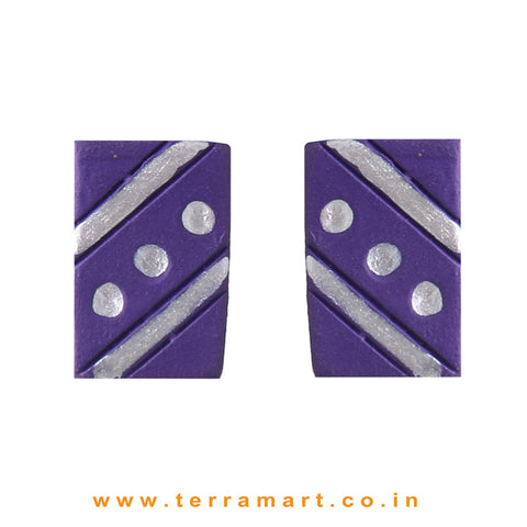 Cute Violet & Silver colour Handmade Terracotta Earrings