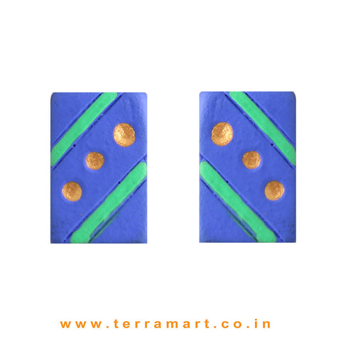 Cute Navy Blue, Parrot Green & Gold colour Handmade Terracotta Earrings