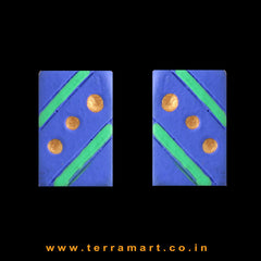 Cute Navy Blue, Parrot Green & Gold colour Handmade Terracotta Earrings - Terramart Jewellery