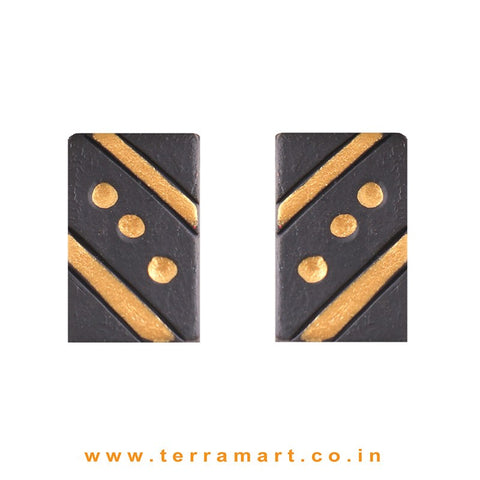 Cute Black & Gold colour Handmade Terracotta Earrings