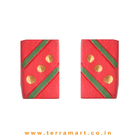 Cute Red, Sap Green & Gold colour Handmade Terracotta Earrings