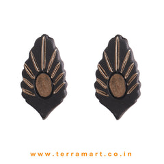 Superb Black & Bronze colour Handmade Terracotta Earrings - Terramart Jewellery