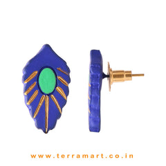 Superb Navy blue, Parrot Green & Gold colour Handmade Terracotta Earrings
