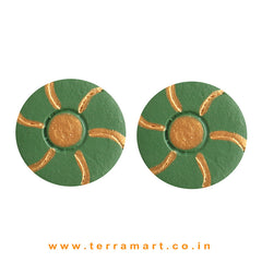 Goodly Painted Sap Green & Gold colour Handmade Terracotta Earrings - Terramart Jewellery