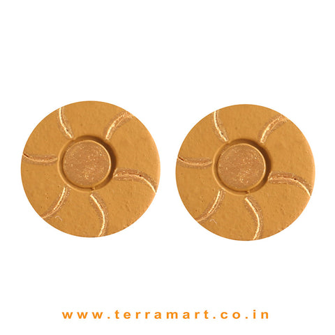 Goodly Painted Mustard & Gold colour Handmade Terracotta Earrings - Terramart Jewellery
