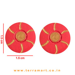Goodly Painted Red & Gold colour Handmade Terracotta Earrings - Terramart Jewellery