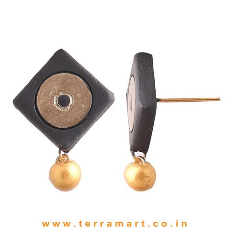 Black & Bronze colour Handmade Terracotta Earrings with terracotta beads