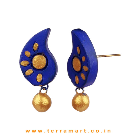 Admirable Navy Blue & Gold Colour Painted Handmade Terracotta Earrings