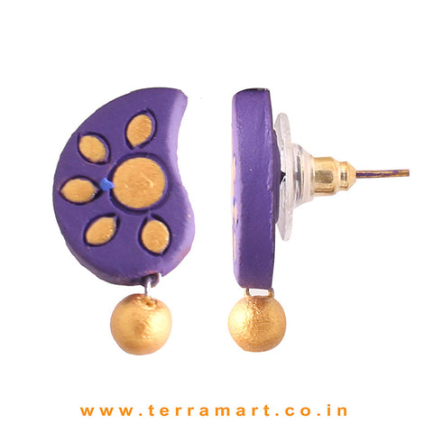 Admirable Violet & Gold Colour Painted Handmade Terracotta Earrings