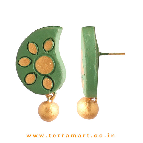 Admirable Sap Green & Gold Colour Painted Handmade Terracotta Earrings