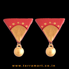 Likeable Red & Gold colour Painted Handmade Terracotta Earrings - Terramart Jewellery