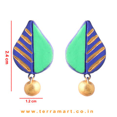 Leaf designed Navy Blue, Parrot Green & Gold colour Handmade Terracotta Earrings - Terramart Jewellery