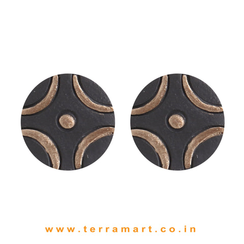 Black & Bronze Colour Painted Handmade Terracotta Studded Earrings