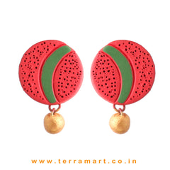 Red, Sap Green & Gold Colour Painted Simple Handmade Terracotta Earrings - Terramart Jewellery