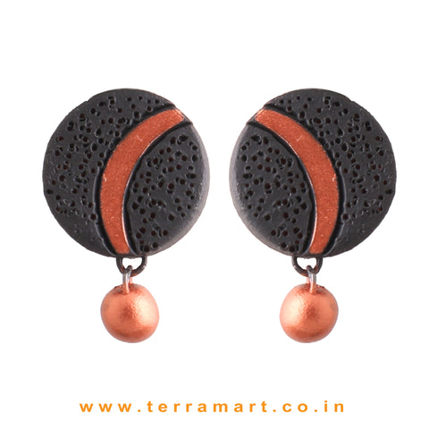 Black & Copper Colour Painted Simple Handmade Terracotta Earrings