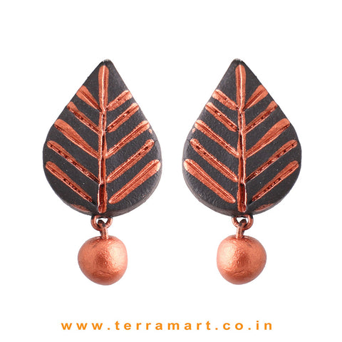 Leaf designed Black & Copper colour Handmade Terracotta Earrings - Terramart Jewellery