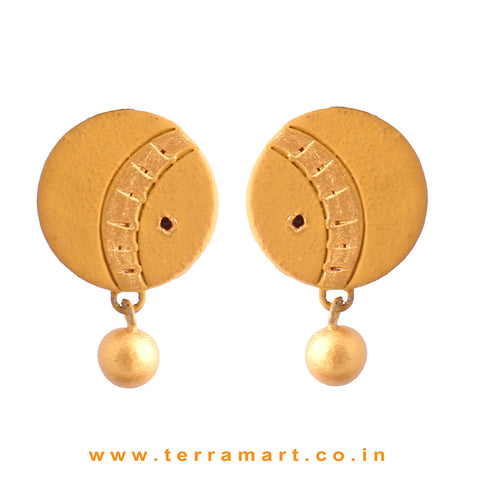 Mustard & Gold Colour Simple & Nice Handmade Terracotta Earrings