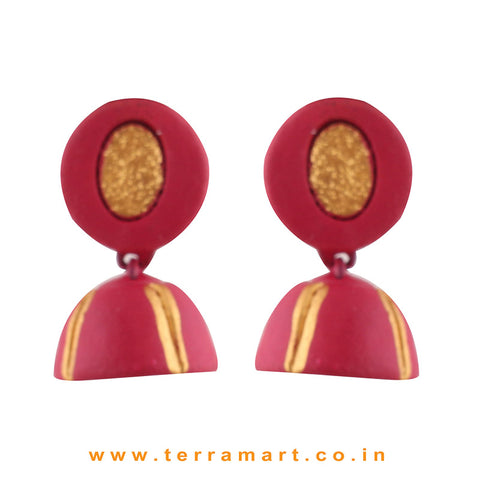 Pink and Gold colour Handmade Terracotta jumka
