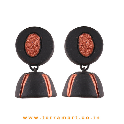 Black & Copper colour Handmade Terracotta jumka