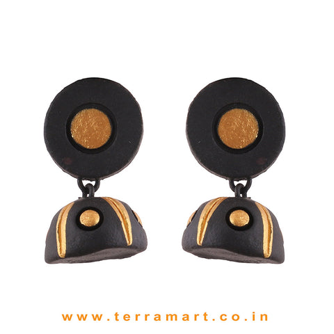 Gold and Black colour Handmade Terracotta jumka