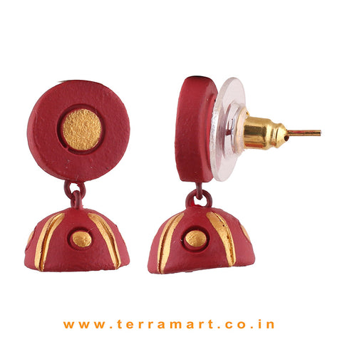 Maroon and Gold color Handmade Terracotta studded jumka