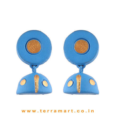 Skyblue & Gold colour Handmade Terracotta jumka