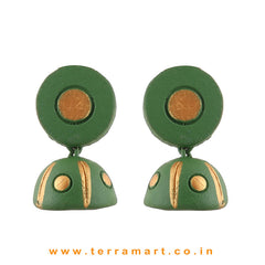 Sap Green & Gold colour Handmade Terracotta jumka - Terramart Jewellery