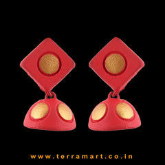 Red & Gold colour Handmade Terracotta jumka - Terramart Jewellery